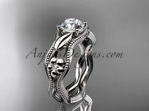 Unique Flower Engagement Rings White Gold Leaf Ring ADLR382