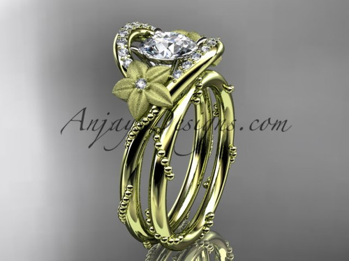 Moissanite Bridal Ring Yellow Gold Floral Wedding set ADLR166S
