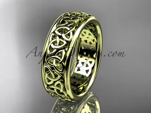 Celtic Engagement Ring, Yellow Gold Wedding Band CT7163G