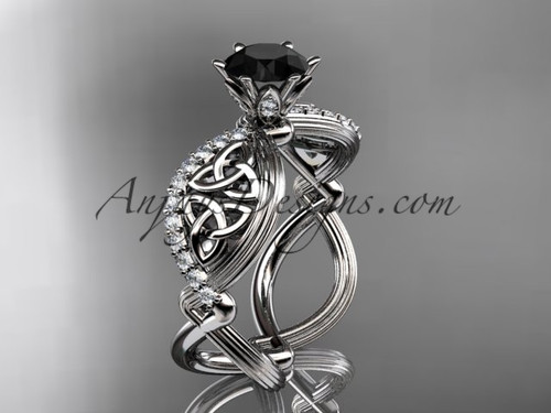 14kt white gold diamond celtic trinity knot wedding ring, engagement ring with a Black Diamond center stone CT7192