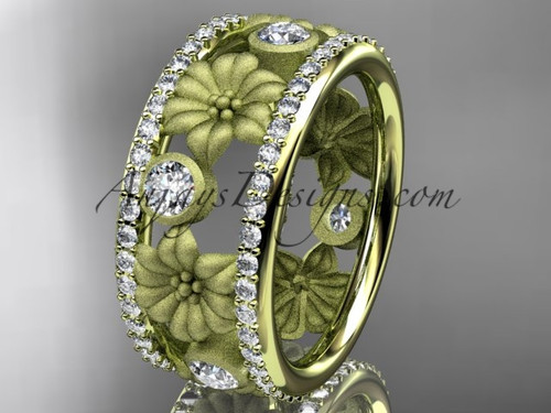 14k yellow gold diamond flower wedding ring, engagement ring ADLR239