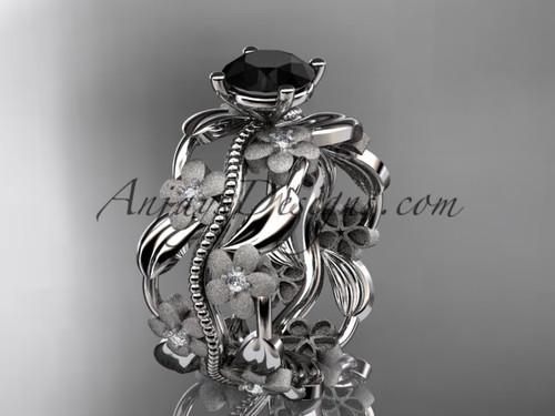 platinum diamond leaf and vine wedding ring, engagement ring with a Black Diamond center stone ADLR188