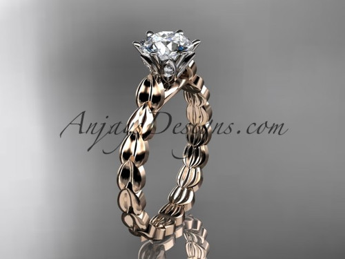 "14k rose gold diamond vine and leaf wedding ring, engagement ring with  ""Forever One"" Moissanite center stone ADLR35"