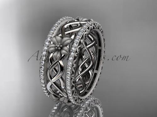 Platinum  diamond flower wedding band, engagement ring ADLR260B
