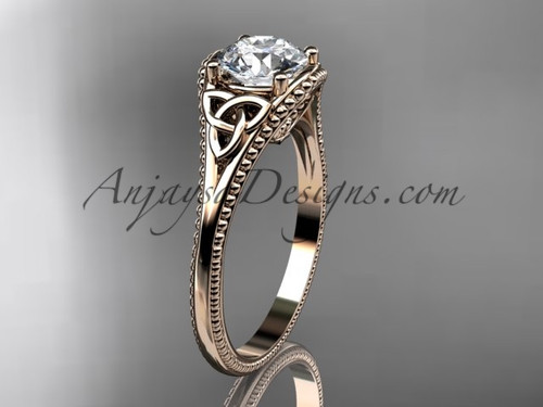 "14kt rose gold celtic trinity knot wedding ring, engagement ring with a ""Forever One"" Moissanite center stone CT7375"