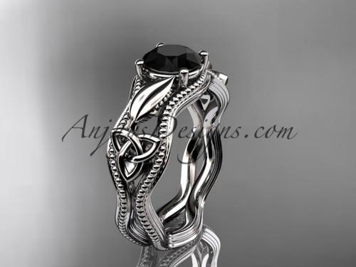 Celtic Knot Wedding Ring, Platinum Black Diamond Ring CT7382
