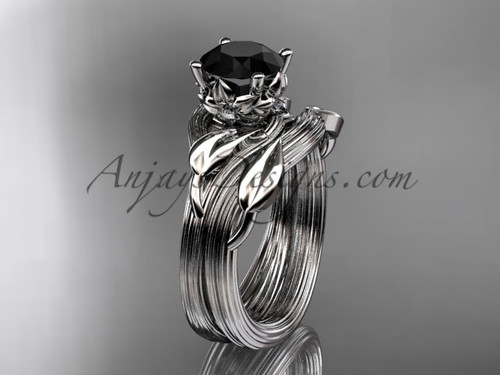 platinum diamond flower, leaf and vine wedding ring, engagement set with a Black Diamond center stone ADLR240S