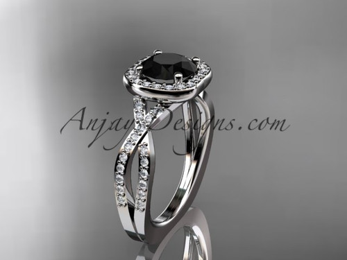 14kt white gold wedding ring, engagement ring  with a Black Diamond center stone ADER393