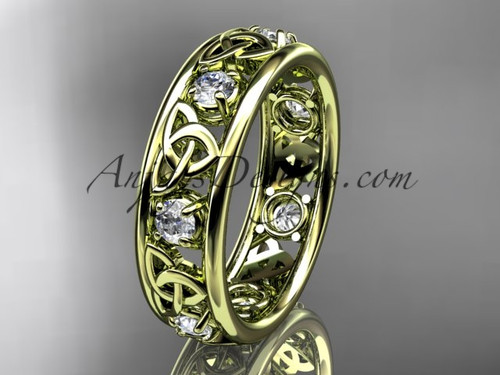 14kt Yellow Gold Celtic Trinity Knot  Wedding Band CT7160B