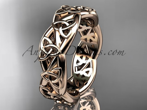 Celtic Wedding Bands for Women, Gold Bridal Ring CT7392G