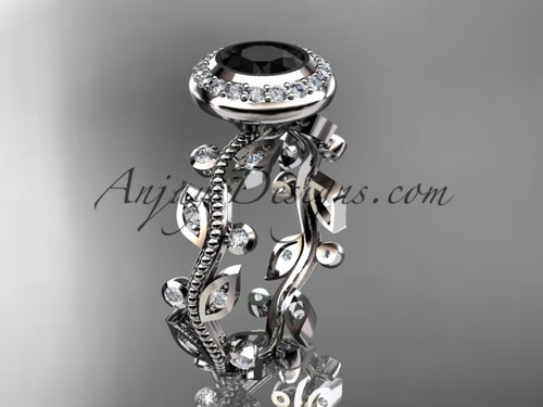 platinum diamond leaf and vine wedding ring, engagement ring with a Black Diamond center stone ADLR212