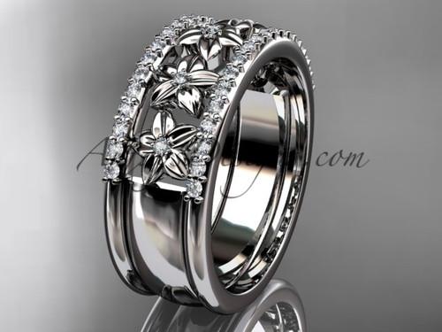 14kt white gold engagement ring, flower wedding band ADLR516B