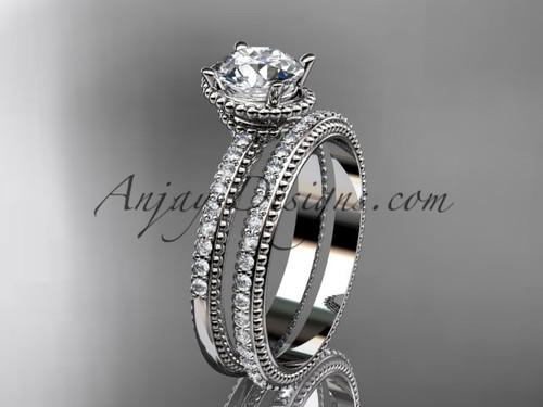 14kt white gold diamond unique engagement set, wedding ring ADER86S