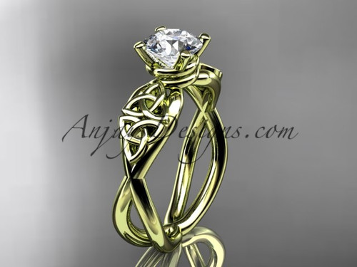 Celtic Bridal Ring - Moissanite Yellow Gold Ring CT770