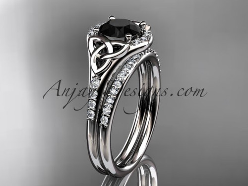 14kt white gold diamond celtic trinity knot wedding ring, engagement set with a Black Diamond center stone CT7126S