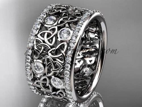 Wide Band Diamond Wedding Rings Platinum Celtic Ring CT7507B