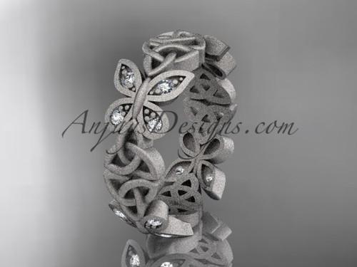 platinum diamond celtic trinity knot  matte finish  wedding band, engagement ring CT7420B