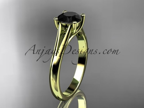 14kt yellow gold unique engagement ring, wedding ring, solitaire ring with a Black Diamond center stone ADER109