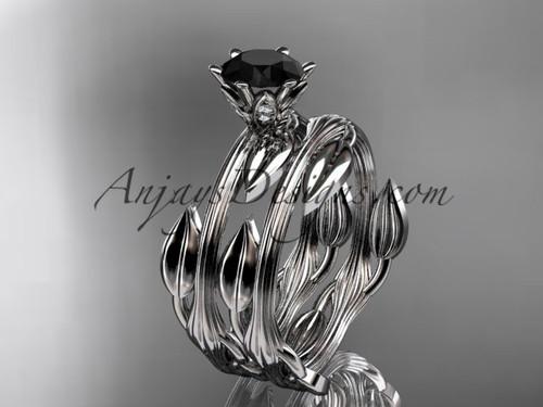 platinum leaf and vine wedding ring, engagement set with a Black Diamond center stone ADLR343S