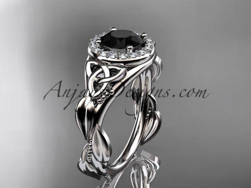 platinum diamond celtic trinity knot wedding ring, engagement ring with a Black Diamond center stone CT7327