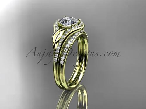 14kt yellow gold diamond leaf wedding set, engagement set ADLR334