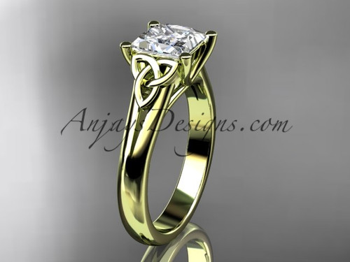 "14kt yellow gold celtic trinity knot wedding ring, engagement ring with a Princess cut ""Forever One"" Moissanite center stone CT7143"