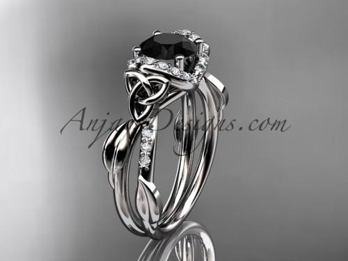 Platinum Black Diamond Irish Celtic Engagement Ring CT7274