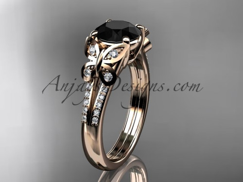 Butterfly Rings Rose Gold Black Diamond Ring ADLR514
