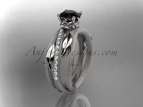 14kt white gold diamond leaf and vine wedding ring, engagement ring with a Black Diamond center stone ADLR329