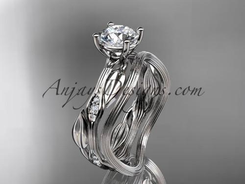 "Platinum diamond leaf and vine wedding ring set, engagement ring set with  ""Forever One"" Moissanite center stone ADLR31S"