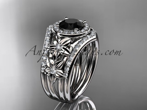 platinum diamond floral wedding ring, engagement ring with a Black Diamond center stone and double matching band ADLR131S
