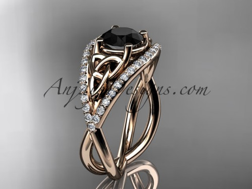 14kt rose gold celtic trinity knot engagement ring ,diamond wedding ring with Black Diamond center stone CT788