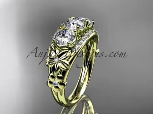 14kt yellow gold diamond flower 3 stone Forever One Moissanite wedding ring ADLR203
