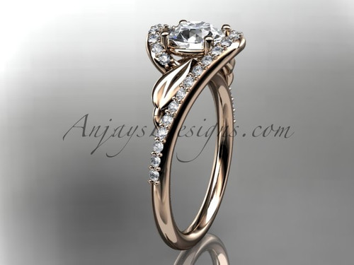 14k rose gold diamond leaf and vine wedding ring, engagement ring ADLR317