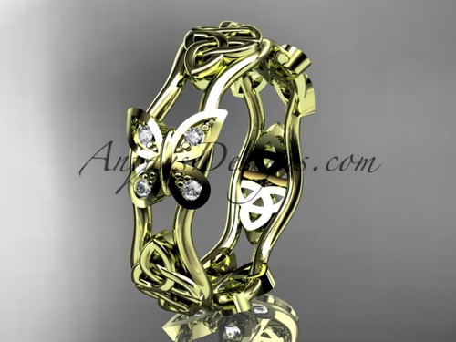 14kt yellow gold diamond celtic trinity knot wedding band, butterfly engagement ring CT7153BA
