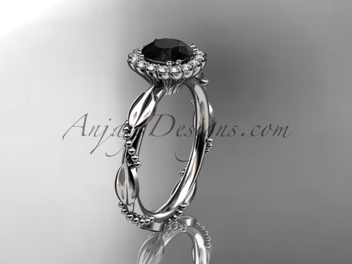 14kt white gold diamond leaf and vine wedding ring, engagement ring with a Black Diamond center stone ADLR337