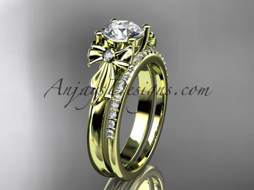 "14kt yellow gold diamond unique engagement set, wedding ring with a ""Forever One"" Moissanite center stone ADER154S"