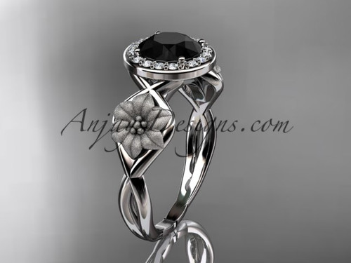 Unique 14kt white gold diamond flower wedding ring, engagement ring with a Black Diamond center stone ADLR219