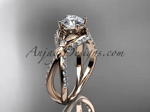 Unique 14kt rose gold diamond flower, leaf and vine wedding ring, engagement ring ADLR218