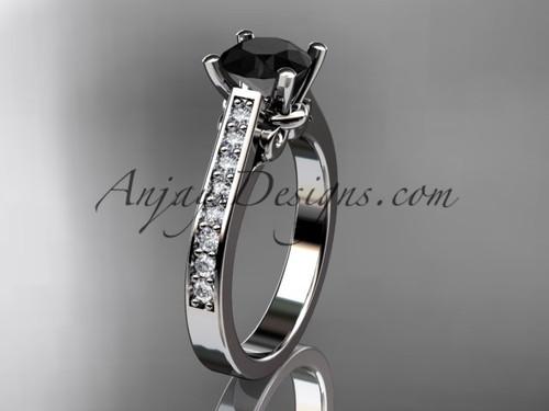 platinum diamond unique engagement ring, wedding ring with a Black Diamond center stone ADER134