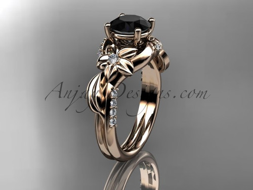 Unique 14k rose gold diamond flower, leaf and vine wedding ring, engagement ring with a Black Diamond center stone ADLR224