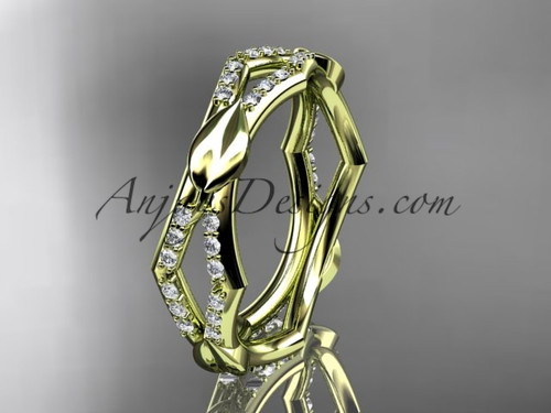 14k yellow gold diamond leaf and vine wedding band,engagement ring ADLR353B