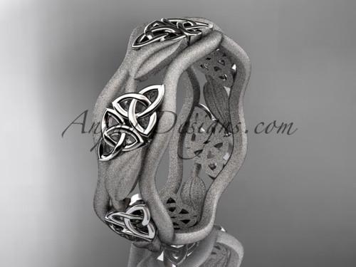 Mens Wedding Rings - White Gold Celtic Bridal ring CT7506G