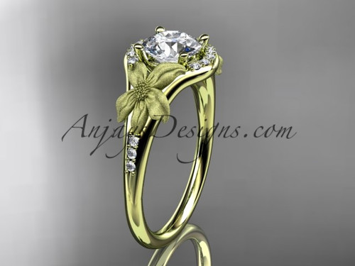 """14kt yellow gold diamond leaf and vine wedding ring, engagement ring with a """"Forever One"""" Moissanite center stone ADLR91"""