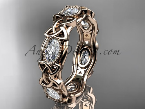 14kt rose gold celtic trinity knot wedding band, engagement ring CT7152B