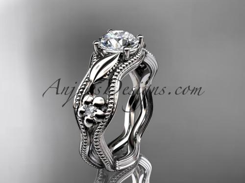 Simple Flower Engagement Rings Platinum Bridal Ring ADLR382