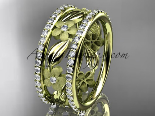 14k yellow gold diamond flower wedding band, engagement ring ADLR233B