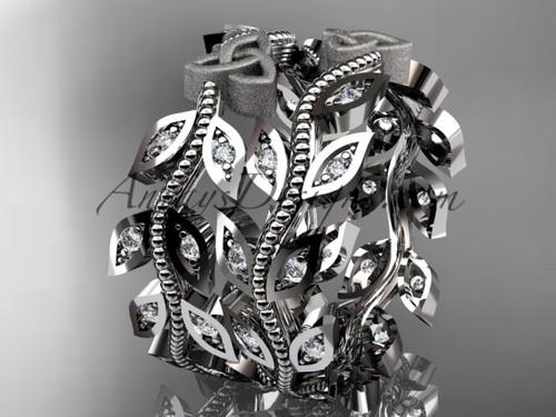 platinum diamond celtic trinity knot, leaf and vine wedding ring, engagement set, wedding band CT7162B