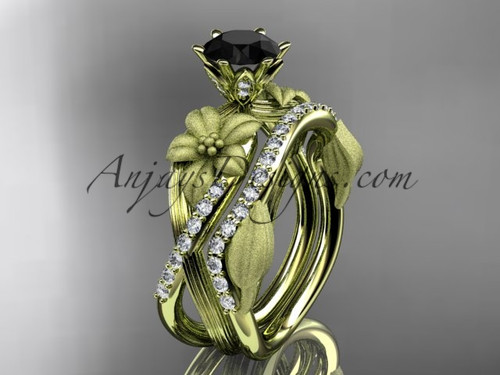 Unique 14kt yellow gold diamond flower, leaf and vine wedding ring, engagement set with a Black Diamond center stone ADLR221S