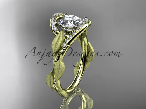 Solitaire Simple Bridal Ring Yellow Gold Leaf Ring ADLR64